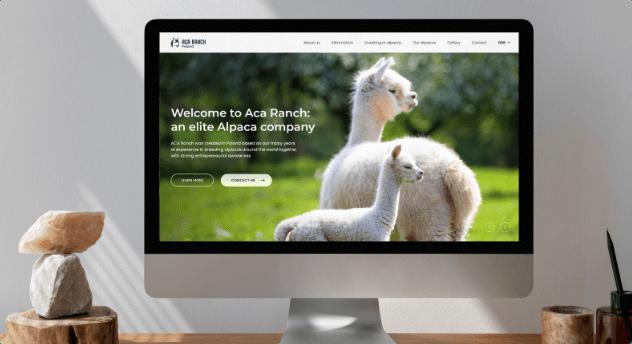 Aca Ranch website on a computer display